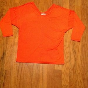 Misslook Woman Size Large Orange Tunic Tee